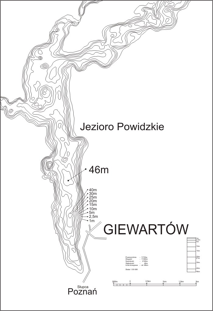 Tiefenkarte Gierwartow-See Polen, Nemo - Baza Nurkowa, Giewartow, Polen