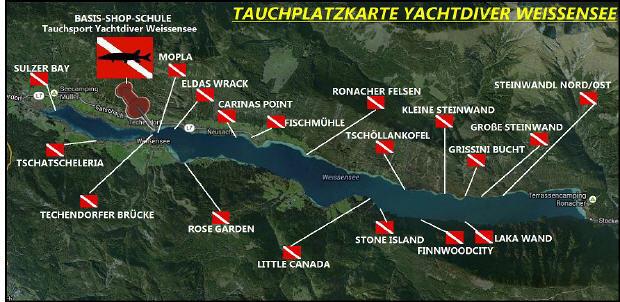 Tauchplatzkarte Yachtdiver Weissensee, Yachtdiver Techendorf Weißensee, Österreich