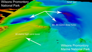 Map of the seabed with dunes 80 to 90 metres deep, rich in fish and life - © Wilsons Promontory Meeresnationalpark