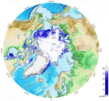 The current situation of the Arctic sea ice on 16 July 2015. © meereisportal.de