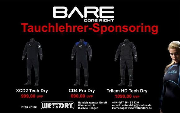 Tauchlehrer Sponsoring by Bare, Wet&Dry