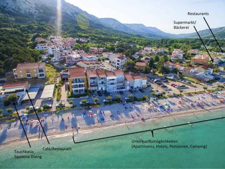 Luftaufnahme Umgebung Squatina Diving, Tauchbasis Baska, Insel Krk, Kroatien, direkt am Meer, Strand, deutschsprachig, Squatina Diving, Baska, Insel Krk