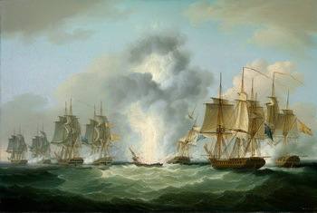 The sinking of the Mercedes, a painting by Francis Sartorius (1734-1804), © National Maritime Museum