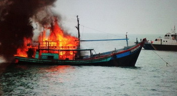 A fishing ship on fire - © Indonesia Maritime and Fishery Ministry