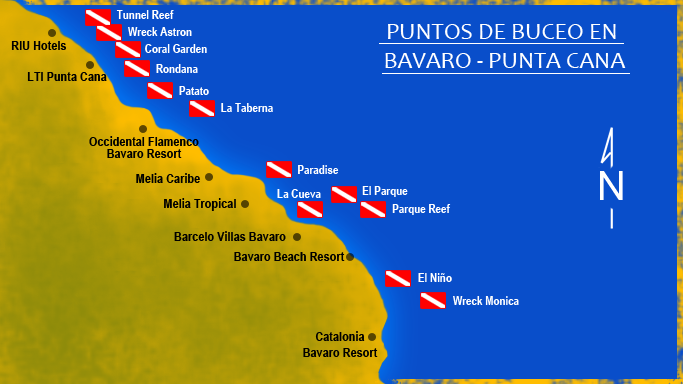 Karte Punta Cana/ Bavaro - Tauchplaetze, Pro Dive International - Occidental Grand Punta Cana, Dominikanische Republik