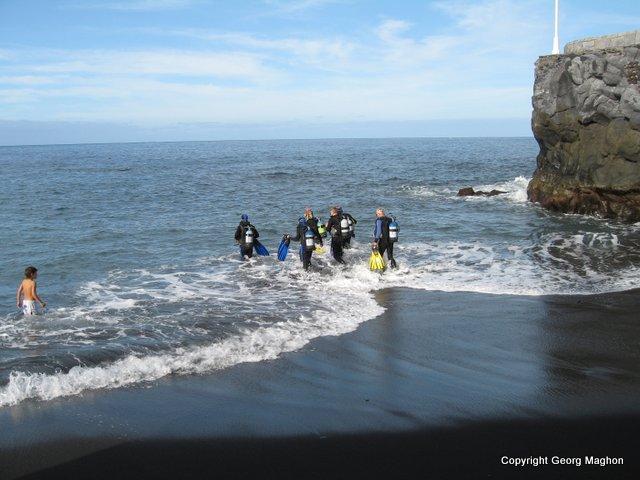 Einstieg Playa chica, Hausriff Tauchpartner, Puerto Naos, Spanien, Kanarische Inseln