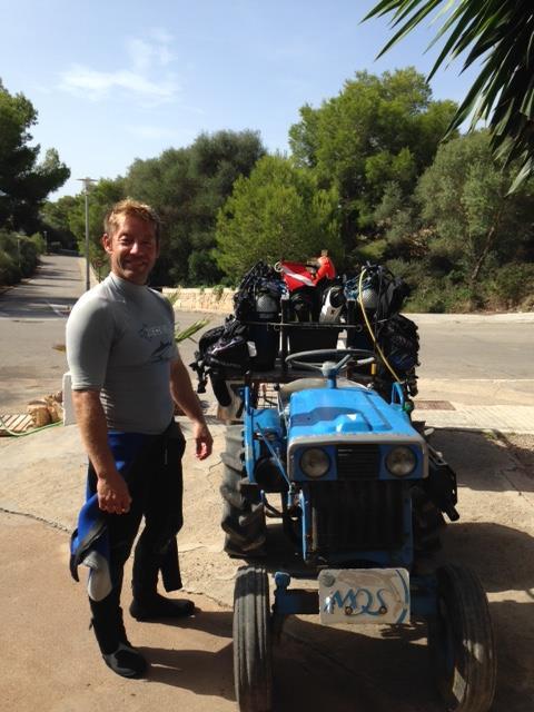 Unser Traktor, MDS Michaels Diving School, Cala Serena, Mallorca, Spanien, Balearen
