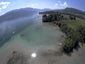 Drones receiving the UNESCO World Heritage Sites I & III in Abtsdorf Attersee overlooking the Northern Limestone Alps. © 7reasons / Trustees Pfahlbauten