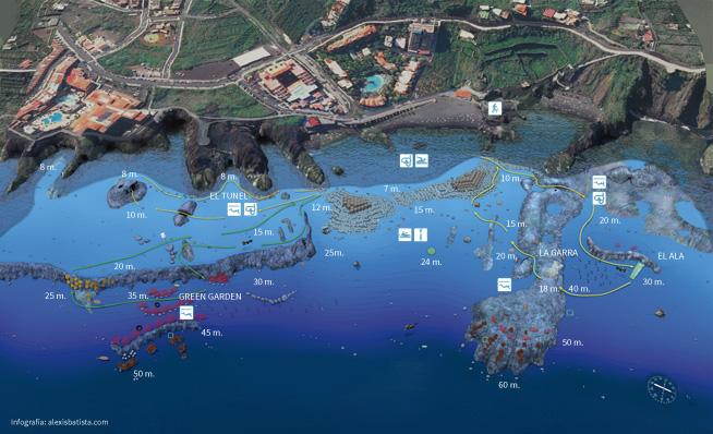 Los Cancajos - Übersicht, Los Cancajos Tauchplatz, Hausriff La Palma Diving Center, Spanien, Kanaren (Kanarische Inseln)
