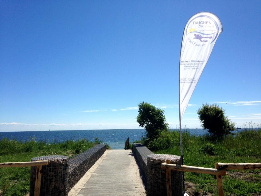Zugang zum Strand, Tauchen Südstrand, Fehmarn, Deutschland, Schleswig-Holstein