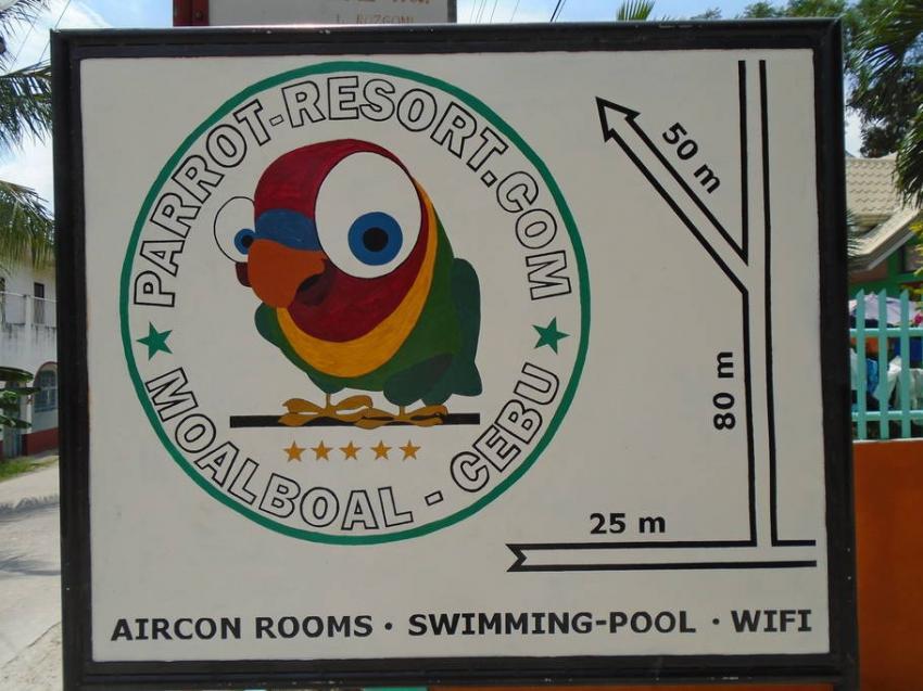 Strassen Logo, Parrot Resort Moalboal, Philippinen