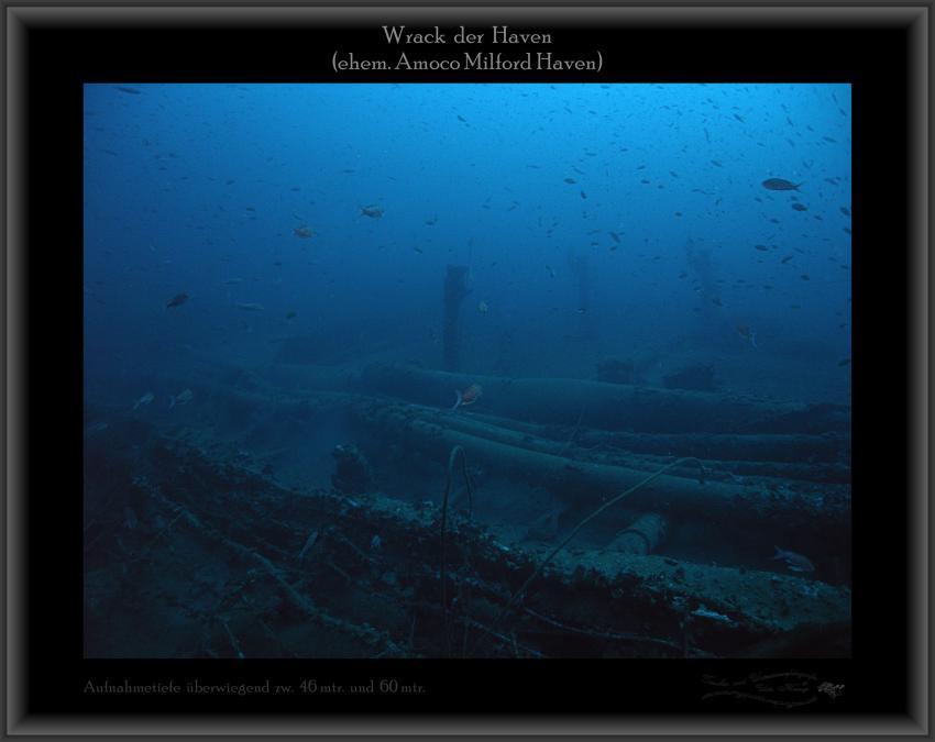Wrack der Haven, Netze, Fische, Wrack Haven (ehem. Amoco Milford Haven),Italien,Wrack,Aufbauten,Oberdeck
