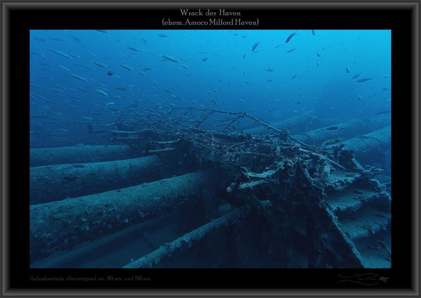 Wrack Haven, 250mtr lang, 50mtr breit, Abbruchkante Bugbereich, große Fischnetze, Aufbauten usw., Wrack Haven (ehem. Amoco Milford Haven),Italien