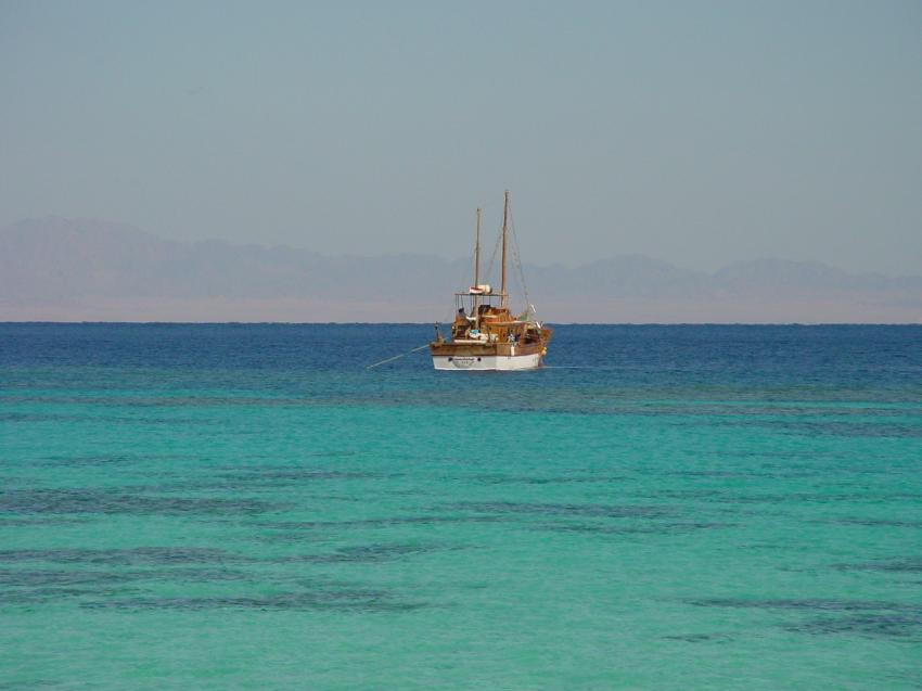 Marsa Alam - Dolphin House, Shaab Samadai (Dolphin House),Ägypten,Fischerboot,ankern,Meer,türkis,Jacht