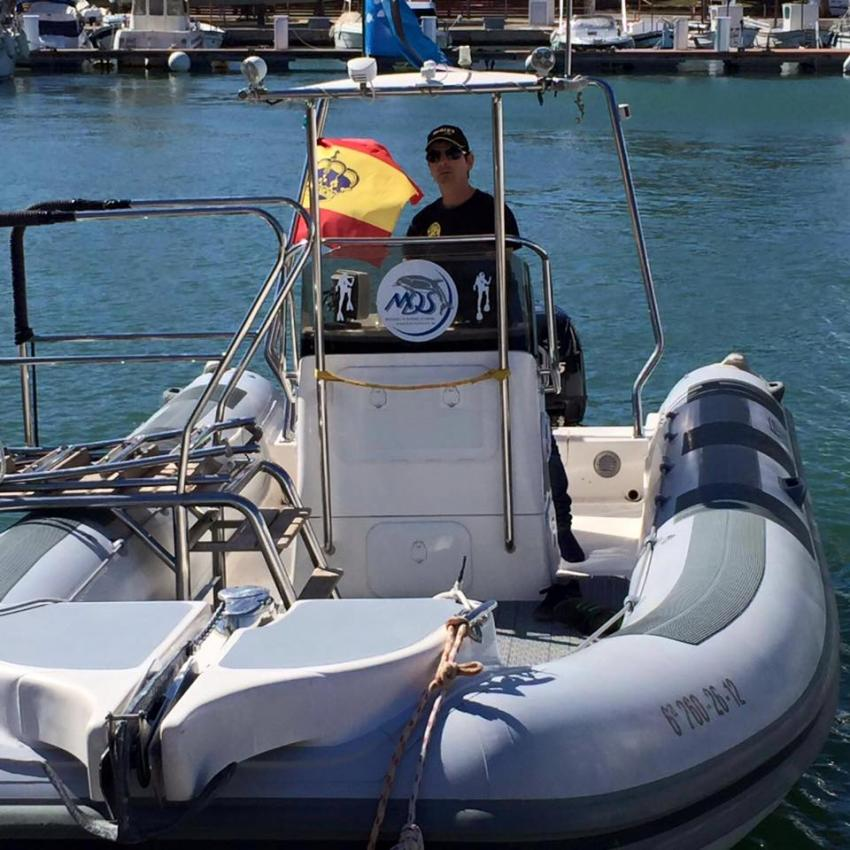 "Unser Boot ""poco loco"", MDS Michaels Diving School, Cala Serena, Mallorca, Spanien, Balearen"