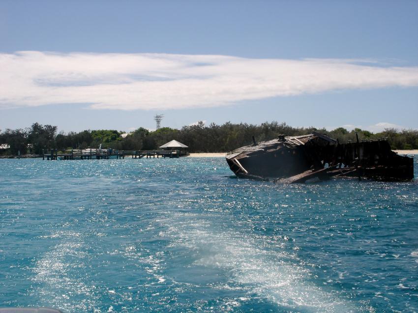Heron Island / GBR, Heron Island,Australien,Bootssteg,Wrack,Insel