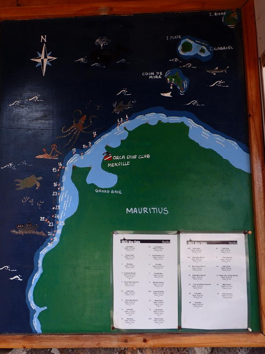 Tauchspots, ORCA Diveclub Merville, Grand Baie, Mauritius