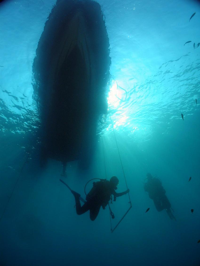 Korfu Palaiokastritsa, Korfu Palaiokastritsa,Griechenland,Tauchboot,Silhouette,abtauchen