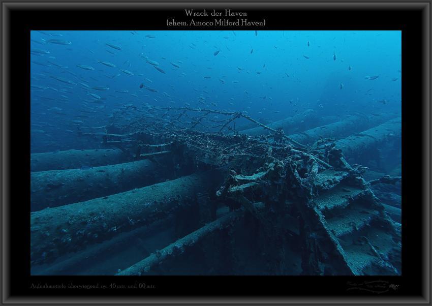 Wrack Haven, 250mtr lang, 50mtr breit, Abbruchkante Bugbereich, große Fischnetze, Aufbauten usw.