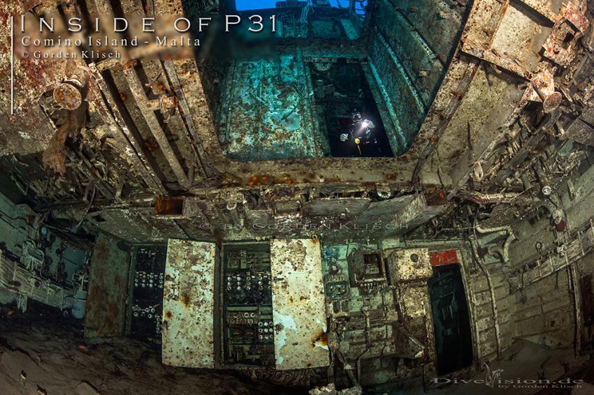 Inside of P31 / Gorden Klisch, Wrack P31 ex. Pasewalk, Comino, Malta, Comino