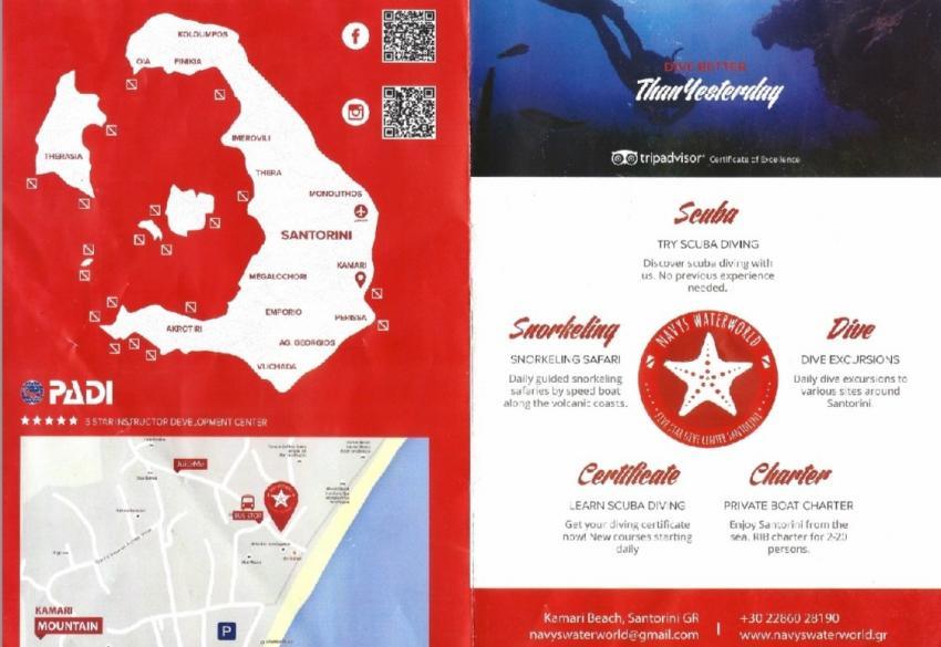 Flyer Vorderseite, Navys Waterworld Dive Center, Kamari, Santorini, Griechenland