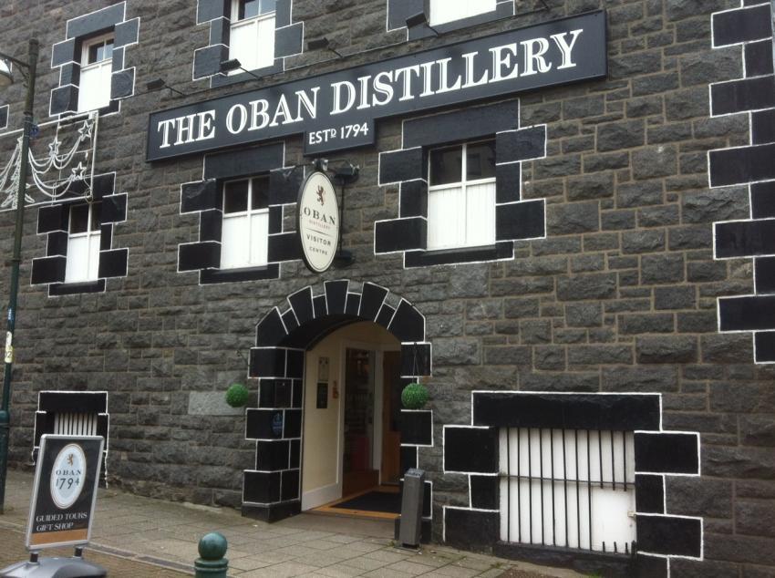 Oban Distillery Eingang, Oban Distillery, Schottland, Whisky, Großbritannien