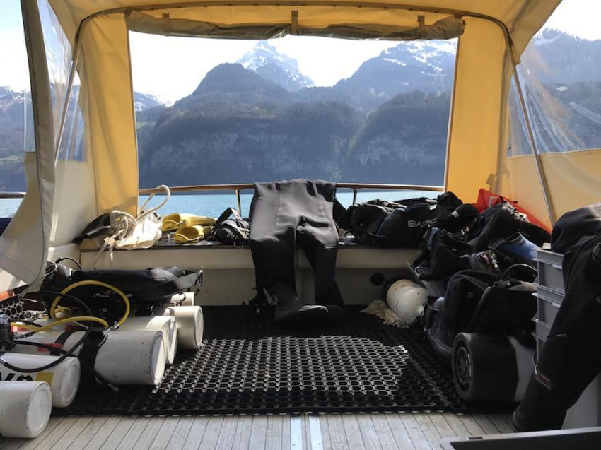 """""""flaschenpark"""" , tauchen im Walensee ohne auto, Sirius, Walensee, Schweiz"""