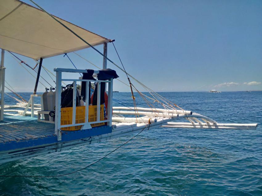 Schweben, und doch so sicher aufgehoben, Devocean Divers, Malapascua (ehemals Seaquest Divecenter), Philippinen