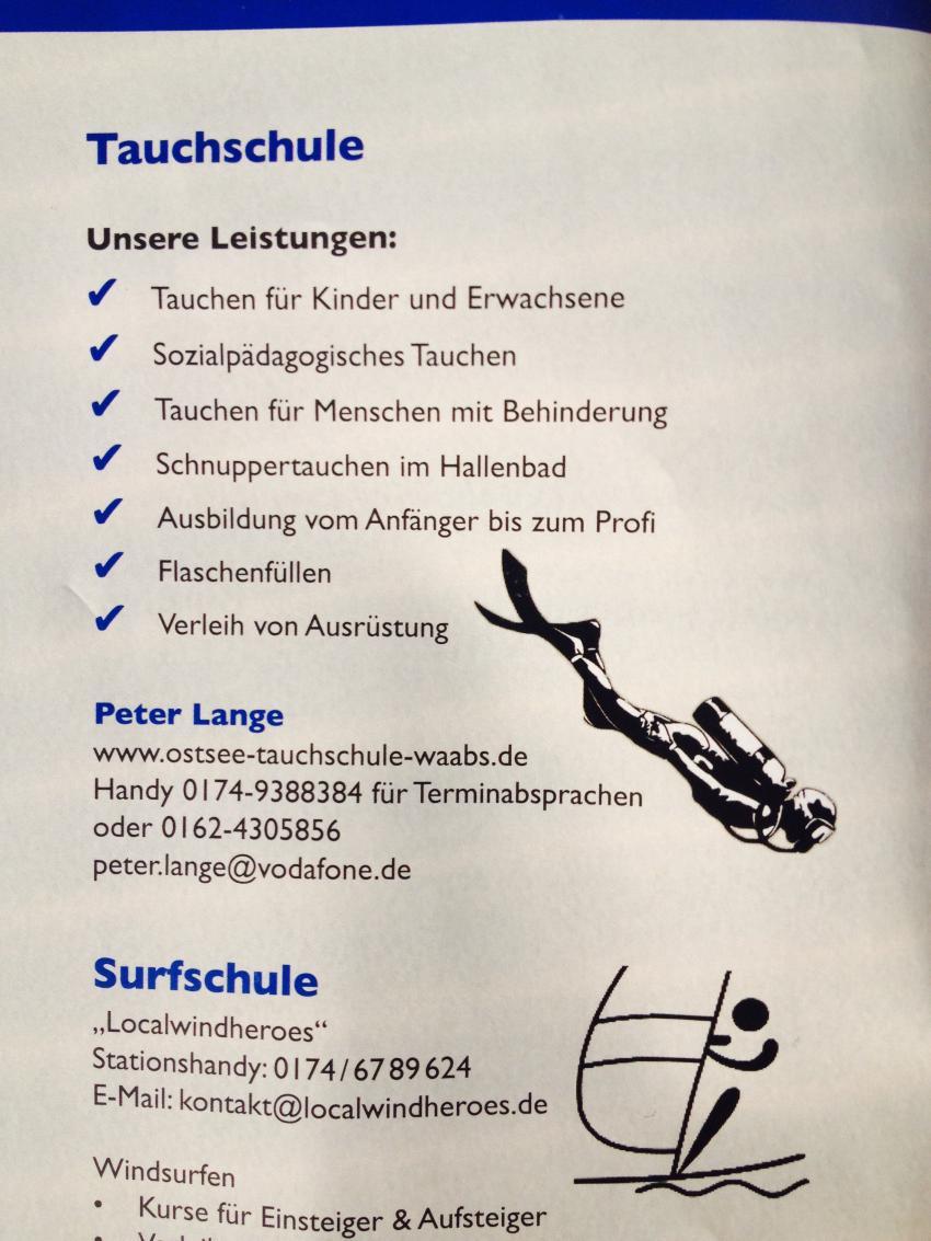 Hinweis im Urlaubsmagazin, Ostsee-Tauchschule, Waabs, Deutschland, Schleswig-Holstein