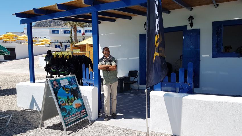 Herr Arian in der Zweigstelle Norida Hotel, Arian Diving Center, Kos, Kardamena, Griechenland