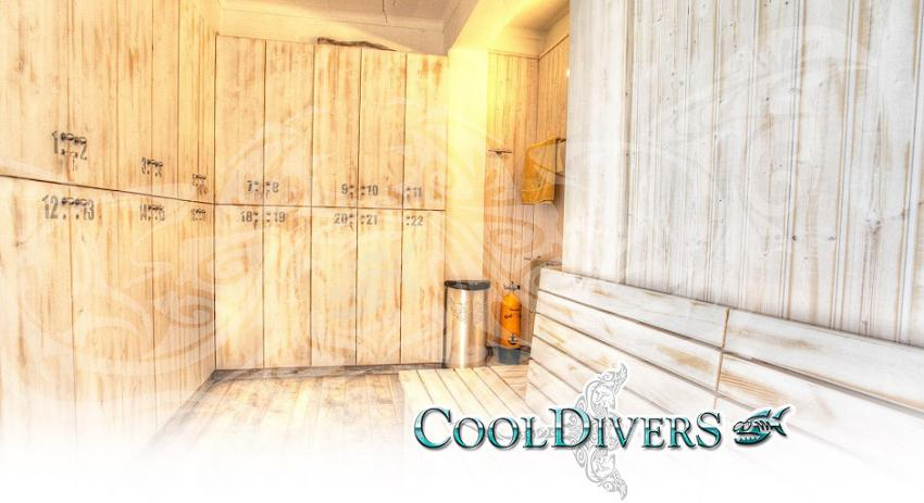 Spinde, Umkleidebereich, Cool Divers, Puerto Andratx, Mallorca, Spanien, Balearen