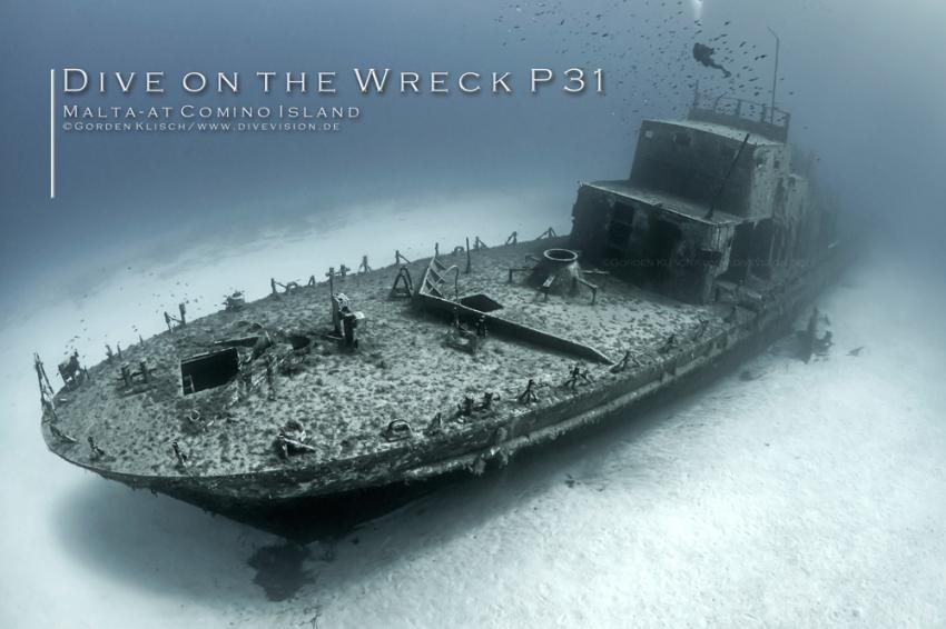 Dive on the P31 / Gorden Klisch, Wrack P31 ex. Pasewalk, Comino, Malta, Comino