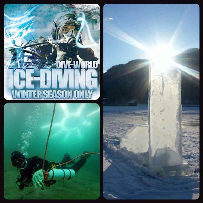 Eistauchen Dive World Weissensee Ost, Dive World Diving.de Diving weissensee tauchen Kurse Padi Ssi, Tauchbasis Dive-World, Weissensee-Ost, Österreich