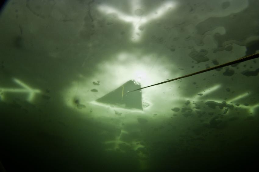 Eistauchen in Ammelshain, Ammelshainer Steinbruch,Sachsen,Deutschland,nicht zu übersehen