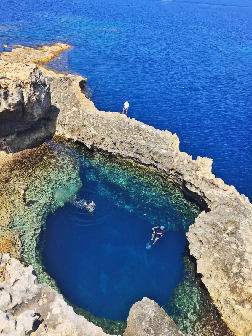 Blue Hole , Blue Hole Dwejra Gozo Dive site, Gaulos Dive Cove, Munxar, Malta, Gozo