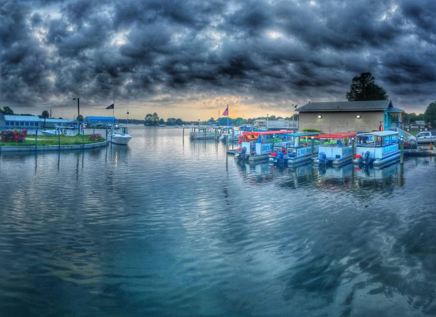 Dive Shop during storm, Bird's Underwater dockside, Bird`s Underwater Dive Center, Crystal River, USA, Florida