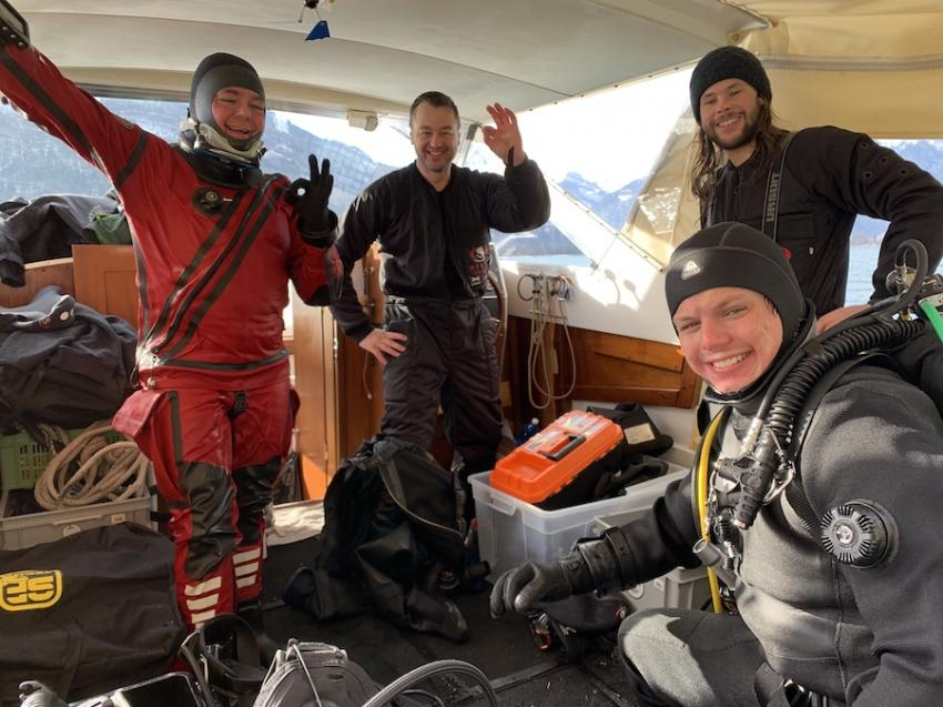 in der kleingruppe lässt es sich gemütlich auf der SIRIUS umziehen, tauchen im Walensee ohne auto, Sirius, Walensee, Schweiz