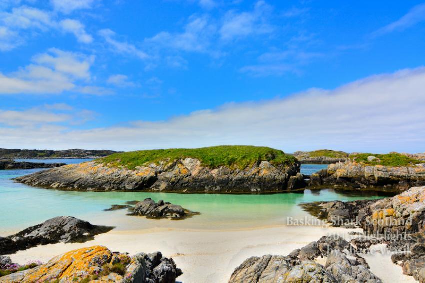 Schottland bei Sonnenschein, Scotland, Basking shark Scotland, Cairns, Lagune, Basking Shark Scotland, Oban, Großbritannien, Schottland