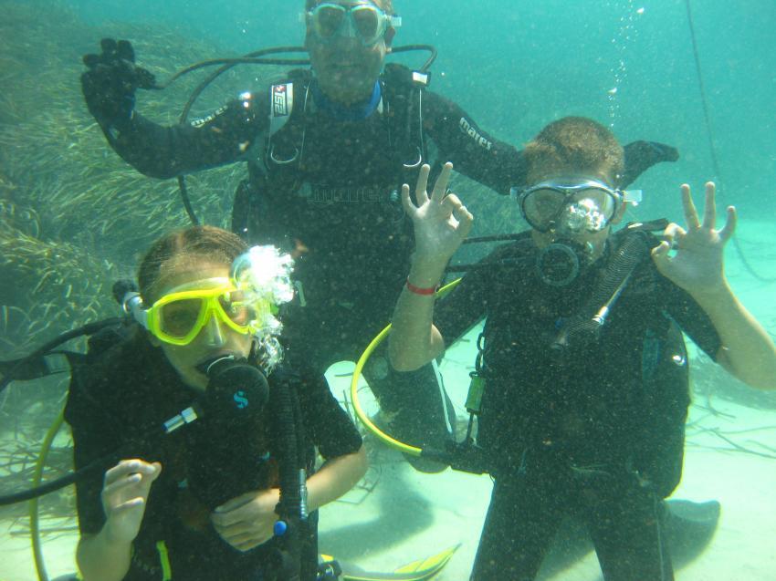 Abschlusstauchgang in der Bucht, M.E. First Class Divers, Cala Barca, Mallorca, Spanien, Balearen