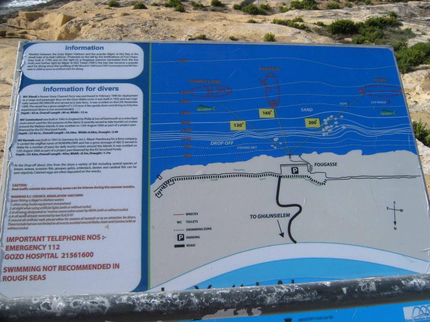 Wrack Cominoland, Gozo, Wrack Cominoland,Gozo,Malta,Tauchplatzkarte