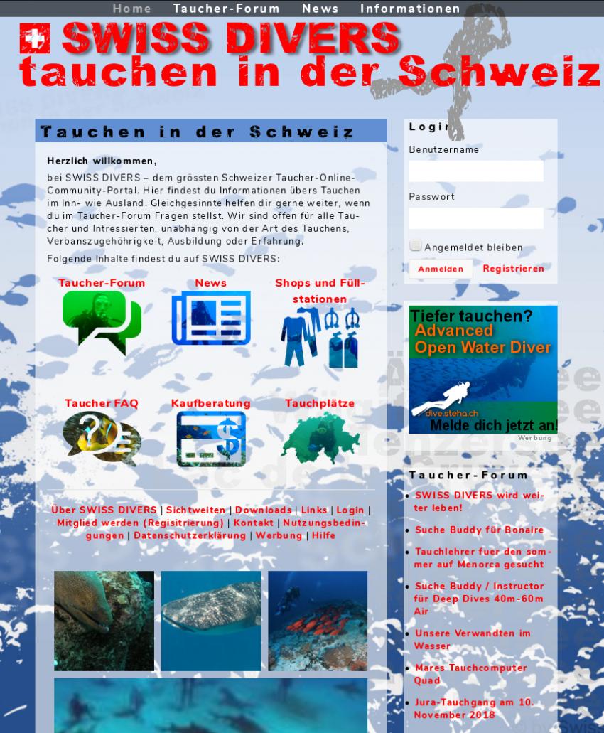 Das neue SWISS DIVERS-Prtal, Swiss Divers, Schweiz