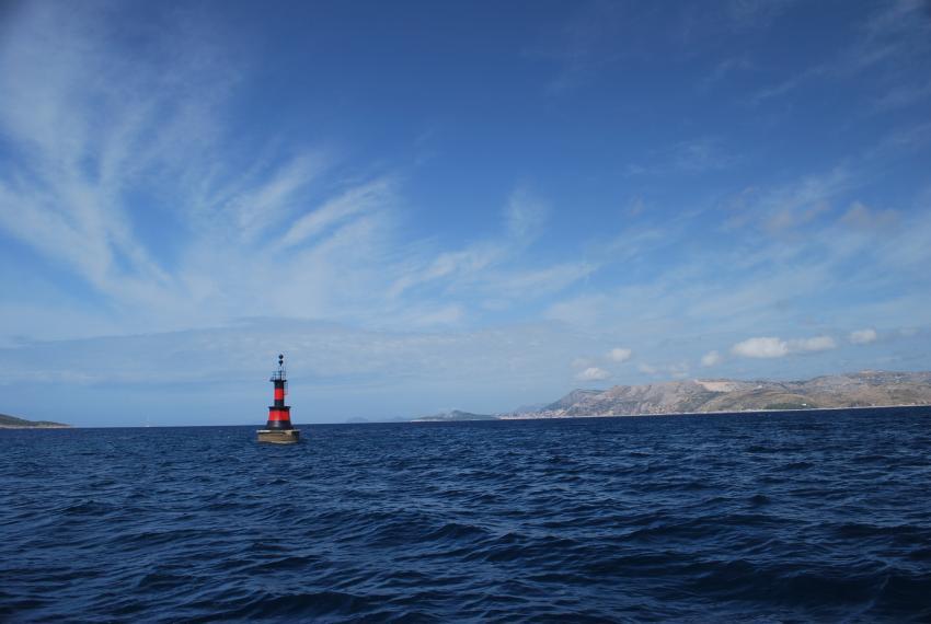 Tauchen um Mlini/Dubrovnik, Dubrovnik,Kroatien,Leuchtturm,Blick über die Bucht nach Mlini und Dubrovnik
