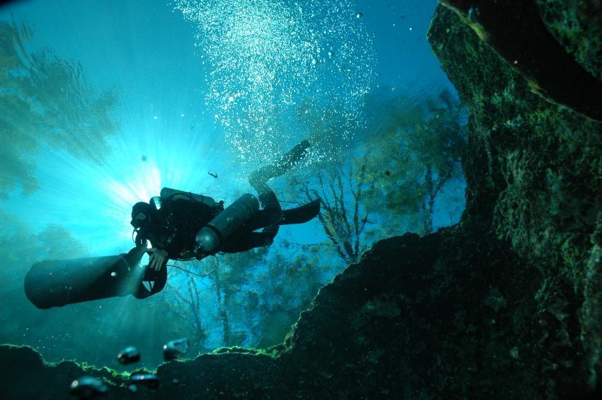 """Bill """"Bird"""" Oestreich, Cave Diving Ginnie springs, Bird`s Underwater Dive Center, Crystal River, USA, Florida"""