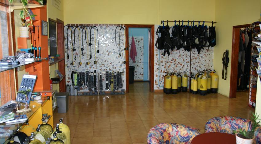 Dive Center Innenansicht, La Palma Dive Center, Los Cancajos, Buceo-Sub La Palma, Spanien, Kanarische Inseln