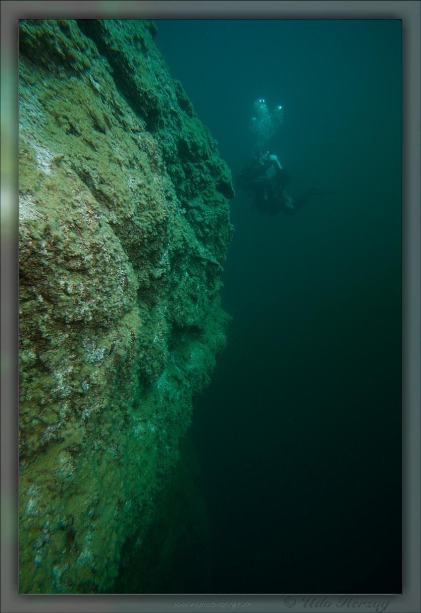 Blindsee - Steilwand, Bäume, Fische, Taucher