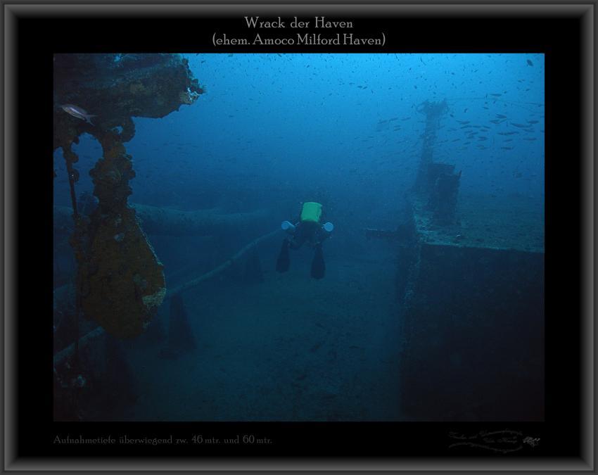 Wrack der Haven, Netze, Fische, Wrack Haven (ehem. Amoco Milford Haven),Italien,Taucher,Tekki,wrack,Oberdeck,Aufbauten