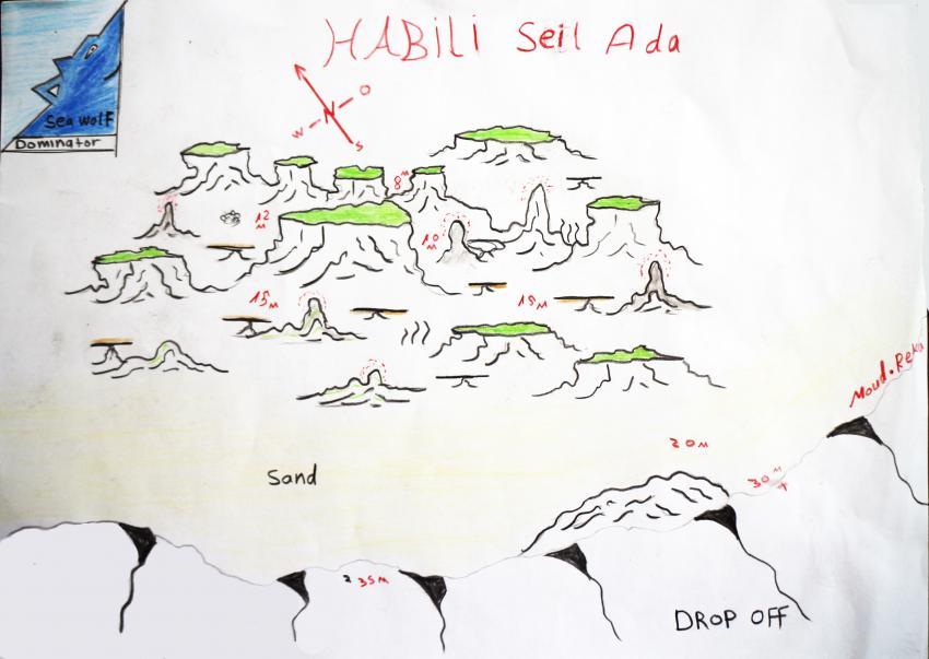Riffkarte, Seawolf Diving Safari Sudan Süden Dominator, Habili Seil Ada, Sudan