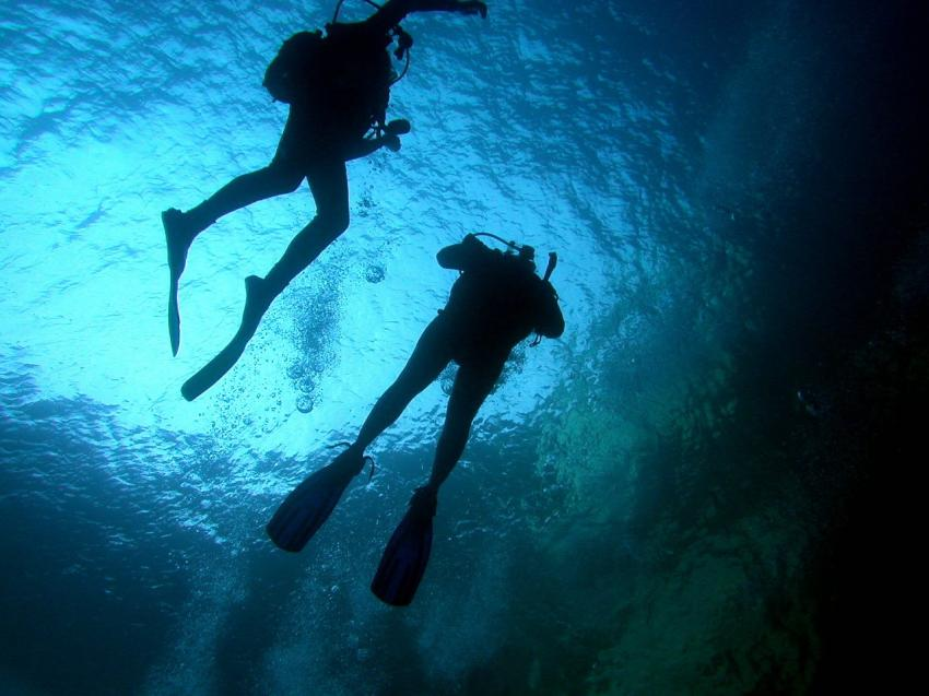 Gozo, Gozo allgemein,Malta,Blue Hole,taucher,sonne,licht