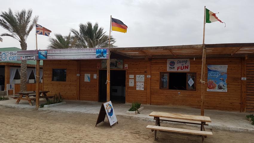 Tauchbasis von vorne, Blue Ocean Diving Center PADI, SSI, CMAS und IAC, Ägypten, Marsa Alam und südlich