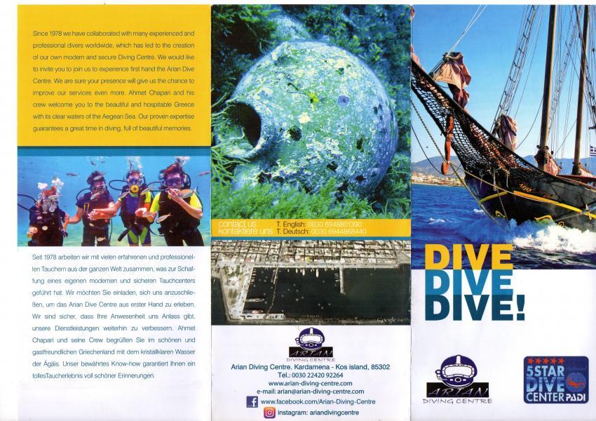 Flyer Vorderseite, Arian Diving Center, Kos, Kardamena, Griechenland